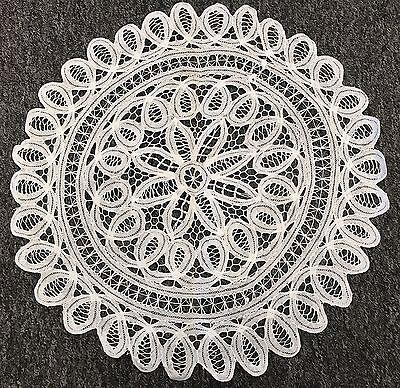 "18"" White Vintage Cotton Handmade Battenburg Lace Crochet Doily Doilies Round"
