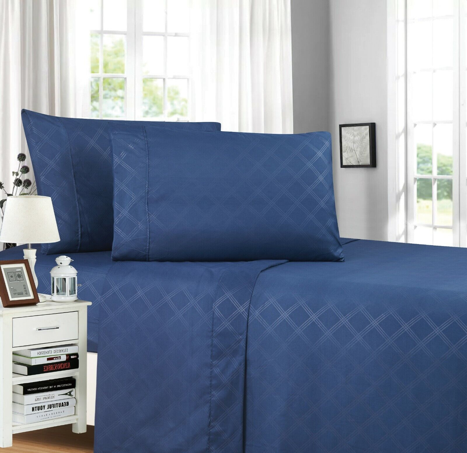 plaid embossed collection 4 piece bed sheet