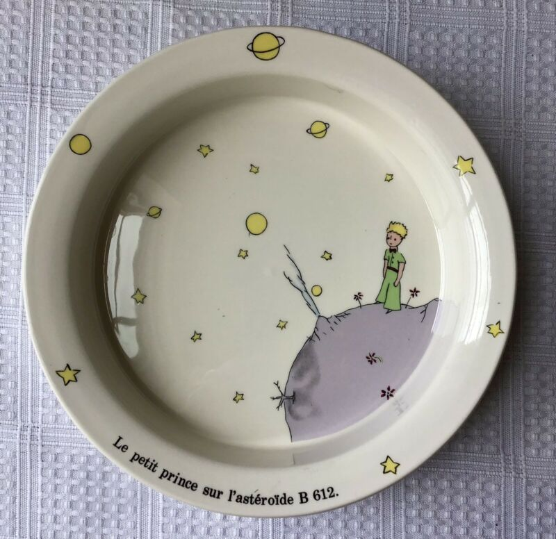 Vintage Le Petit Prince sir l'asteroide B 612 Porcelain Baby Bowl, Gien France