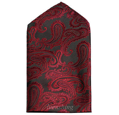 New Brand Q Men's  micro fiber Pocket Square Hankie Only paisley wine formal