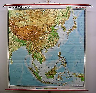 Schulwandkarte map Südostasien Indonesien Japan Indien Pazifik 183x194 1976 card (Karte Indonesien)