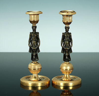 Paar klassizistische Kerzenleuchter Bronze vergoldet 1830 leuchter Frankreich