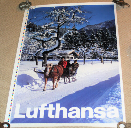 "Lufthansa Travel Poster - Winter Scene - Approx 38"" x 25"""