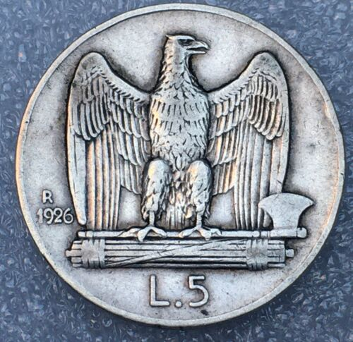 1926 R ITALY  🇮🇹 VITTORIO EMANUELE III 5 LIRA SILVER COIN, RARE