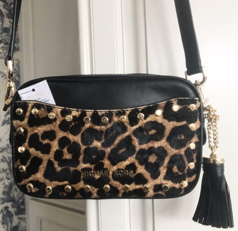MICHAEL KORS Jet Set Camera Belt Bag Crossbody Black Leather Leopard Calf Hair
