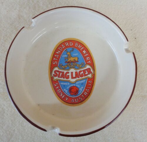 Vintage STAG LAGER Beer Advertising Ceramic ASHTRAY (TH1259)