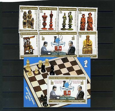 ST.THOMAS & PRINCE ISLANDS 1981 Sc#618-624,627 CHESS SET OF 8 STAMPS & S/S MNH