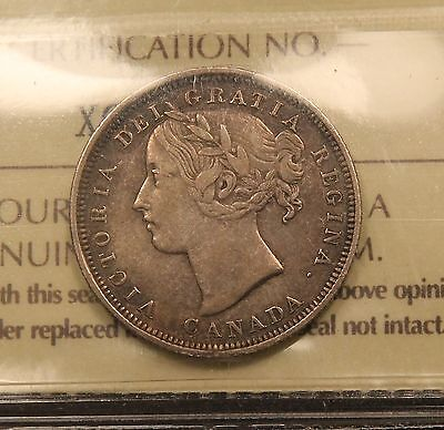 1858 CANADA SILVER 20 CENTS ICCS VF 30 VF EF ONE YEAR TYPE COIN