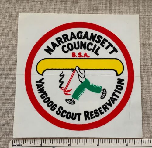 NOS Vintage CAMP YAWGOOG Boy Scout STICKER DECAL BSA Narragansett Council RI
