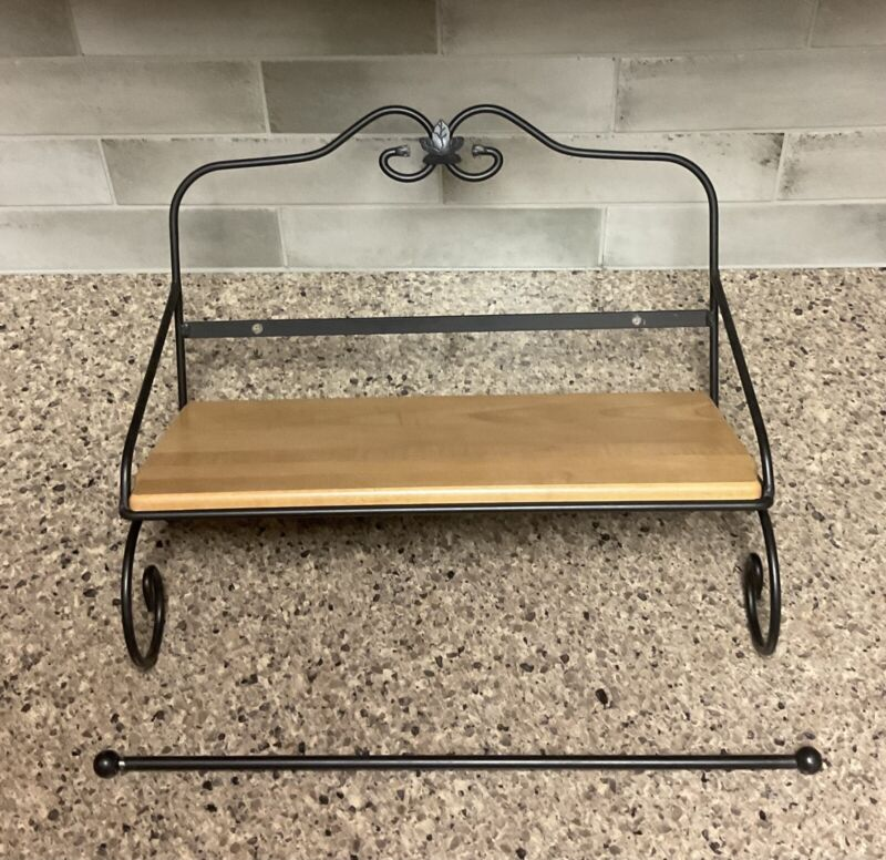 Longaberger Wrought Iron Utility Shelf with Paper/Kitchen Towel Holder And Shelf