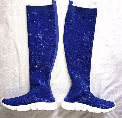 Blingbling Rhinestones Air Knit Thigh High Boots Women Flat Sock Sneakers Female