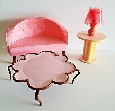 Barbie Mattel Dreamhouse Coffee Table Living Room Sofa Couch Lamp 2006 Furniture