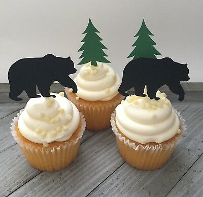 Lumberjack Party (12 Bear And Tree Cupcake Toppers, Hunting Party, Camping,)