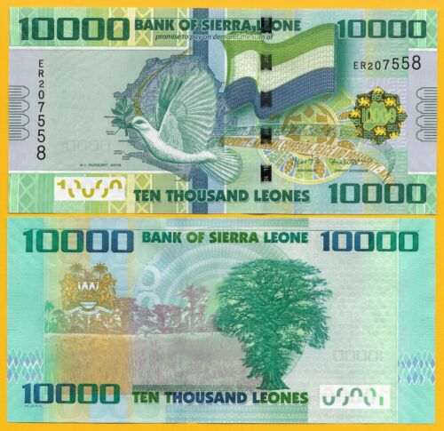 Sierra Leone 10000 (10,000) Leones p-33 2015 UNC Banknote