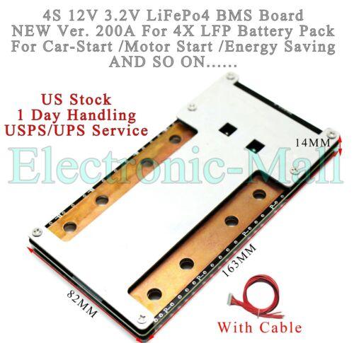 NEW US 4S 200A 12V LiFePo4 LFP 3.2V Battery BMS Protection Board W/ Balance PCB