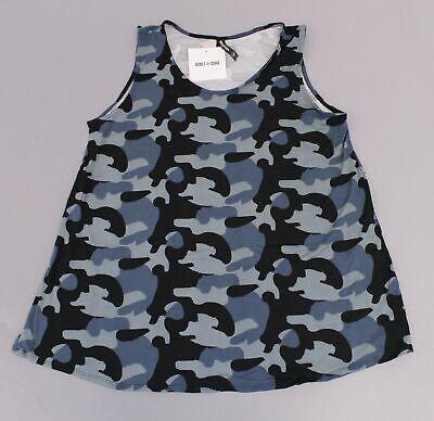 Agnes & Dora Women's Essential Scoop Neck Tank Top BE9 Blue Camo Size XL NWT