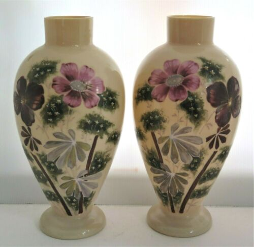Antique Pair Bristol Glass Lg Vases Hand Painted Enameled Flowers Mauve Green