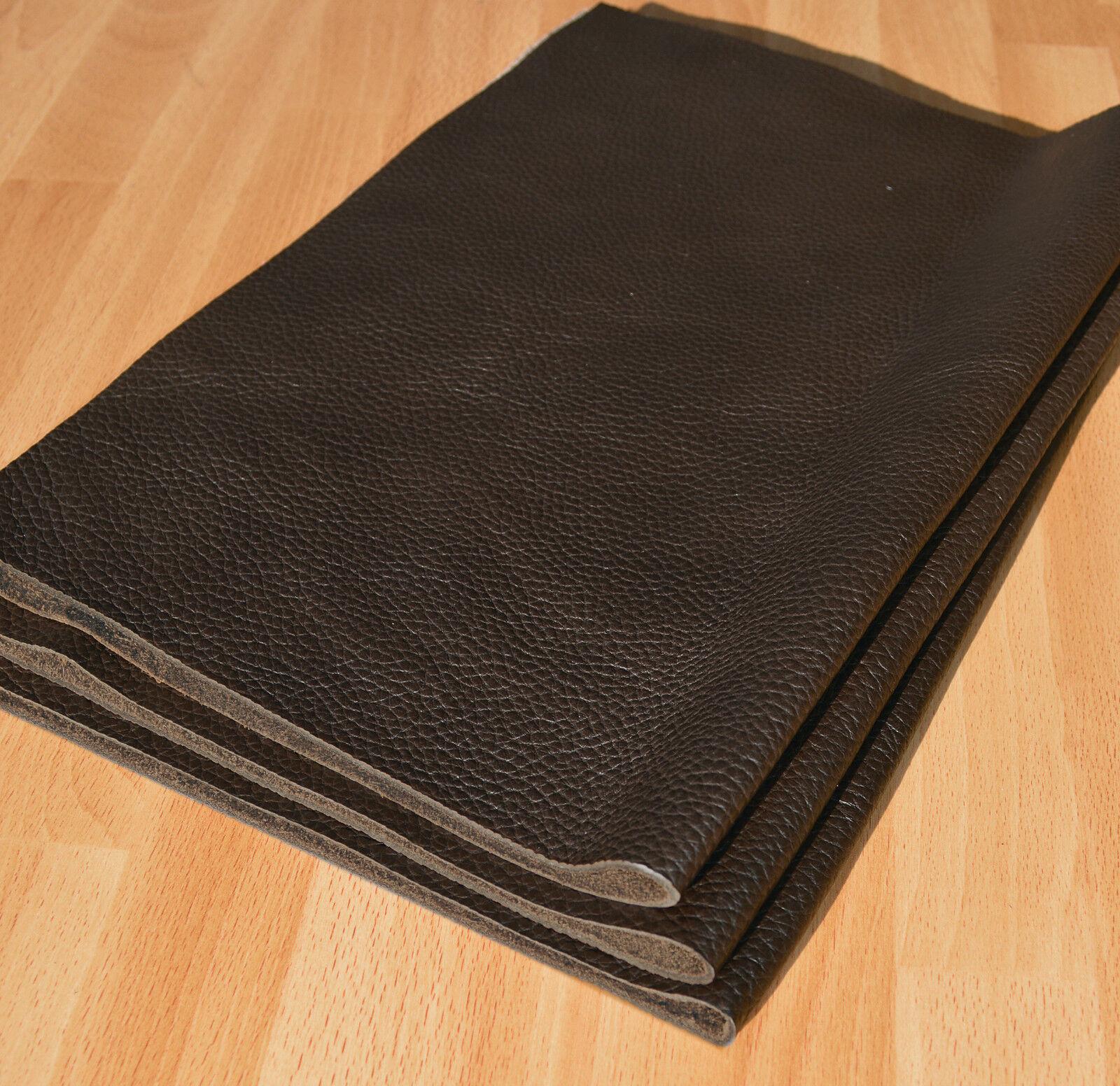 Leder Lederstück, Lederzuschnitt keine Lederreste, DIN-A4/-A3, dkl. Braun Mocca