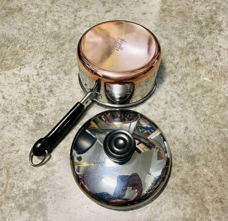Vintage 1801 Revere Ware 1 QT Sauce Pan Pot Copper Clad Bottom w/Lid Clinton ILL