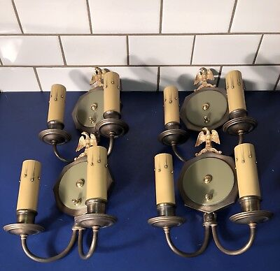(Four early Arts&Crafts/Art Deco brass sconces polished brass eagle accents 60E)