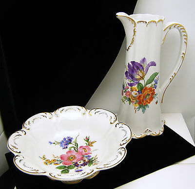 Gerold Porzellan Bavaria Pitcher Bowl Set Lovely Floral Designs on Lookza
