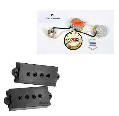 DiMarzio Model P DP122 for Fender P Bass Guitar Black, + PB Wiring Harness ()