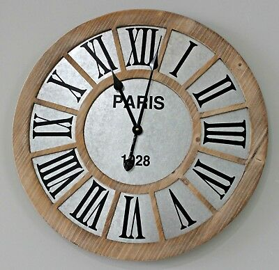 Farmhouse Clock New Large Galvanized Metal Wood Farmhouse Industrial Clock 23.5""