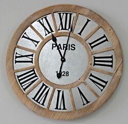 Farmhouse Clock New Large Galvanized Metal Wood Farmhouse Industrial Clock 23.5