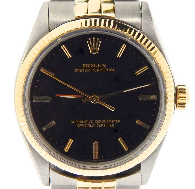 Mens 2tone Rolex 14k Gold/stainless Steel Oyster Perpetual W/black Dial 1005