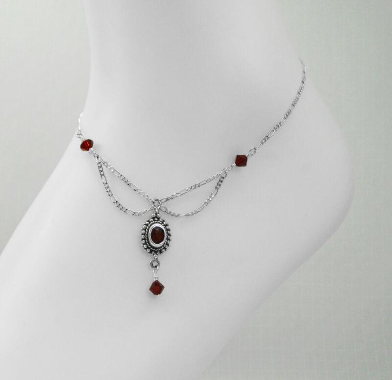 Women Fine 925 Sterling Silver Crystal Ankle Bracelet 9 Inch Long Anklet Red