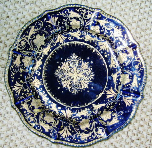 """ANTIQUE HAND PAINTED NIPPON COBALT BLUE 9"""" PLATE WITH ELABORATE GOLD DECORATION"""
