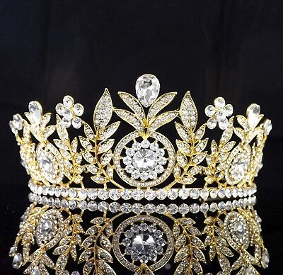 Daisy Floral Clear Rhinestone Tiara Crown Bridal Pageant Prom Wed Gold T59g - Gold Tiara Crown