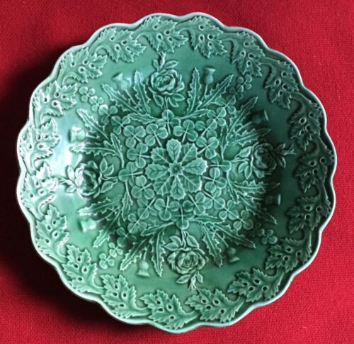 Antique English Green Majolica Plate Rose & Thistle 19th c. Victorian Pottery