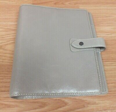 Genuine Filofax A5 Antiqued Leather Grey 6 Ring Binder With Snap Read
