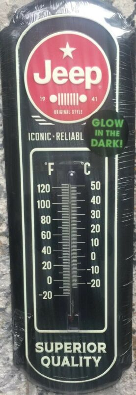 "27"" Jeep ""Glow in the Dark"" Embossed Metal Thermometer-wall Sign"