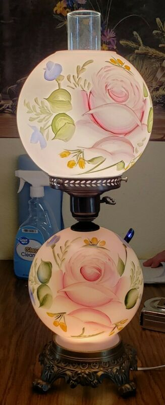 """ANTIQUE 21.5"""" HURRICANE GONE WITH THE WIND 3-WAY PINK FLORAL GLASS TABLE LAMP"""