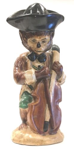 Chinoiserie Monkey Playing Cello Asian Chinese Ceramic 11""