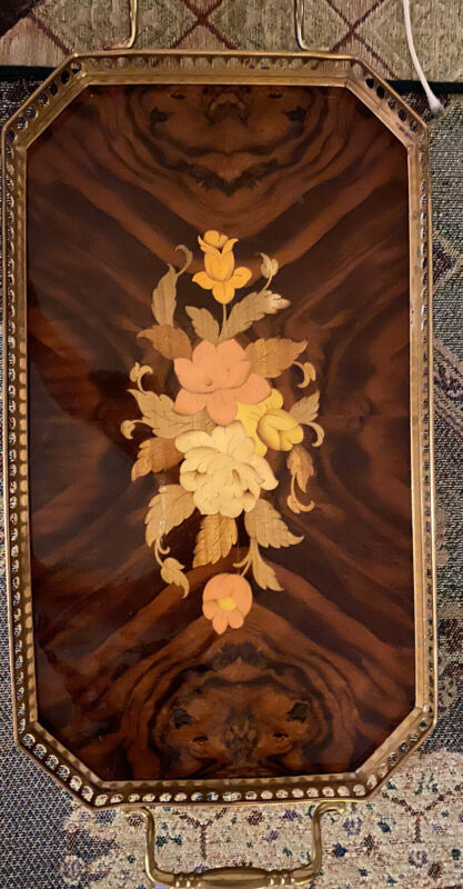Vintage Italian Serving Tray Inlaid Wood Floral With Brass Trim-