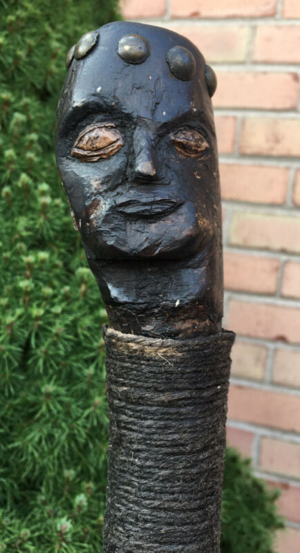 Antique Burl Wood Human Effigy Walking Staff Seneca Iroquois Native American