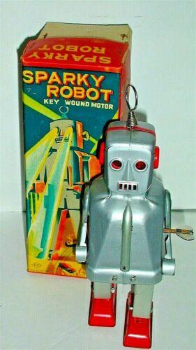RARE! Vintage Sparky Robot + BOX. KO Yoshiya Japan Great Condition. Works Sparks