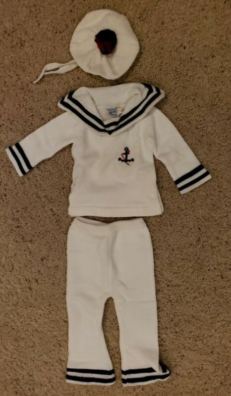 Vtg Baby Outfit Toddler Sailor Nautical 12-18 months 3 Piece Shirt Pant Hat Rare