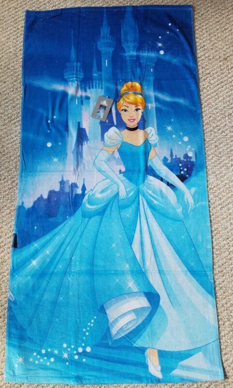 "Disney Store Princess Cinderella Castle Beach Towel New w/Tags 29"" x 59"" Cotton"