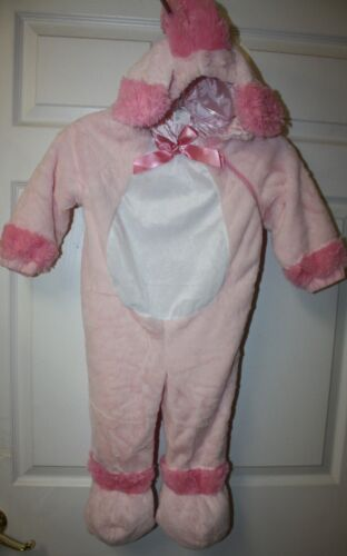 Toddler Girls Pink White Plush Hooded Halloween Pretend Lamb Poodle Costume 2-4