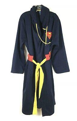 Superman Mens Large XL Bath Robe Fleece Hood DC Comics Navy Red Yellow Halloween