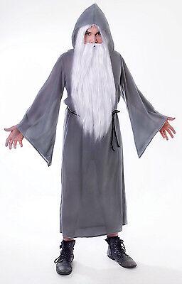 Grey Wizard Robe Cloak Gandalf Adult One Size Fancy Dress Halloween Costume - Wizard Robe