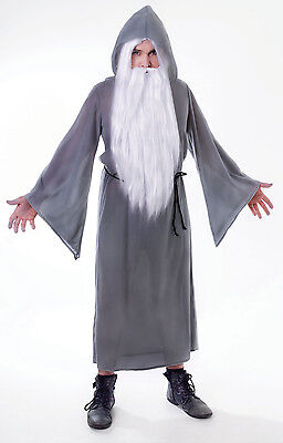 Mens Grey Wizard Cloak Fancy Dress Costume Gandalf Dumbledore Party Outfit - Dumbledore Halloween Costume
