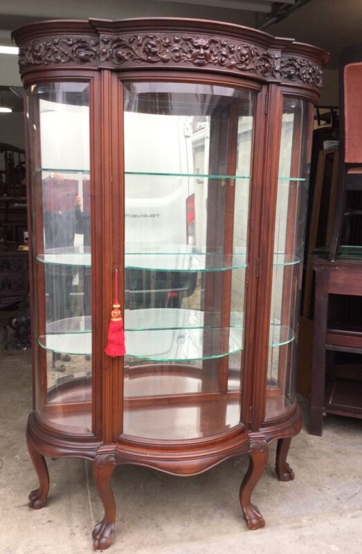 CARVED MAHOGANY BEVELED GLASS CHINA CABINET, ATTR. R. J. HORNER