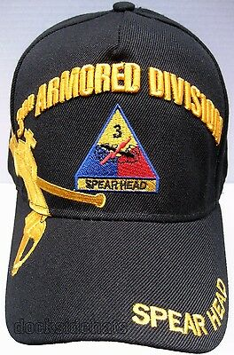 3RD ARMORED DIVISION VETERAN Cap/Hat U.S.Army Black Military Free Shipping