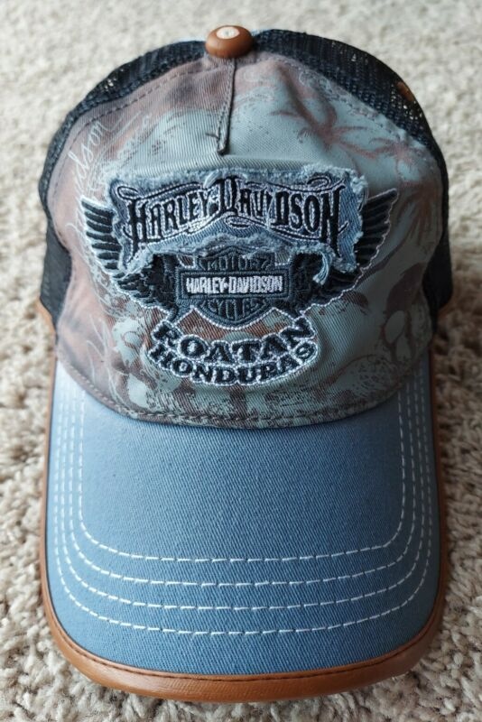 RARE Harley-Davidson Motorcycles Distressed Biker Leather Mesh Hat Cap Honduras