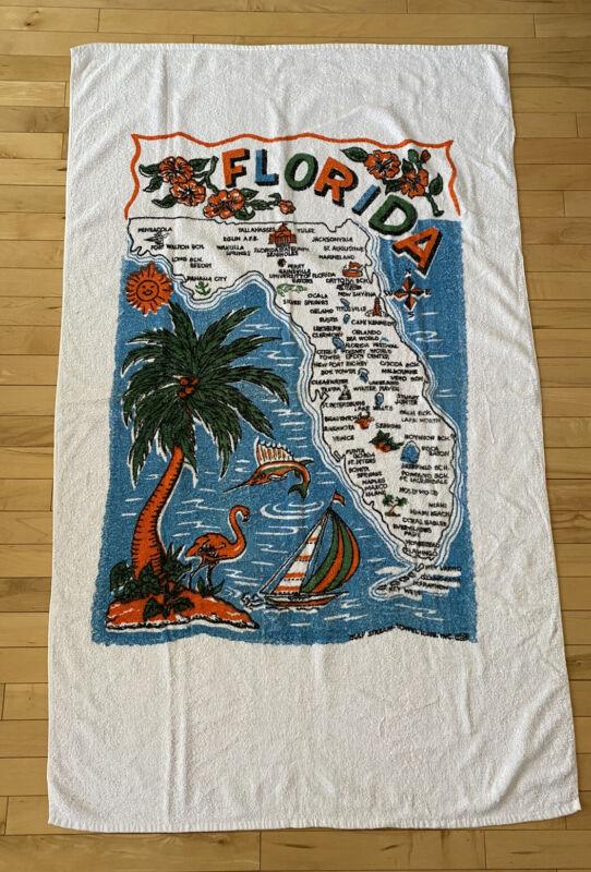 Vintage Florida Beach Towel State Pattern Tropical Kitschy Retro Towel Flamingo